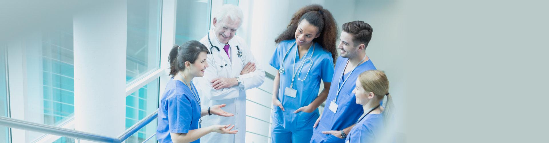 healthcare staff talking